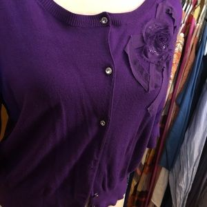 Express Purple Cardigan with Floral Detail